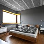 minimalistyczne oświetlenie szarej sypialni – reflektorki